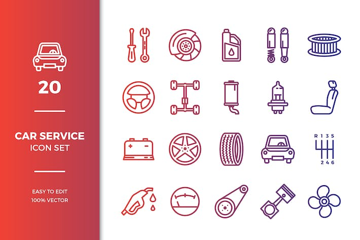 Thumbnail for Car Service Icons Collection