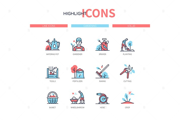 Thumbnail for Gardening concept - line design style icons set