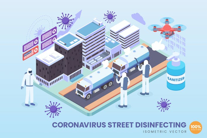 Thumbnail for Isometric Coronavirus Street Disinfecting Vector