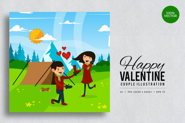 Thumbnail for Romantic Valentine Couple Vector Vol.2