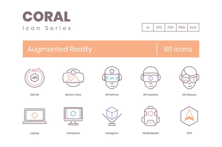 Thumbnail for 60 Augmented Reality Icons - Coral Series