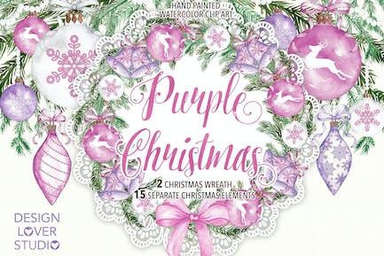 "Watercolor ""Purple Christmas"" design"