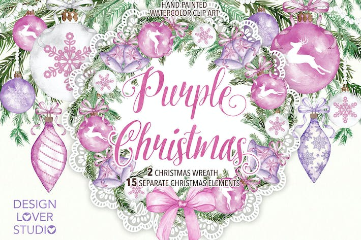 "Thumbnail for Watercolor ""Purple Christmas"" design"