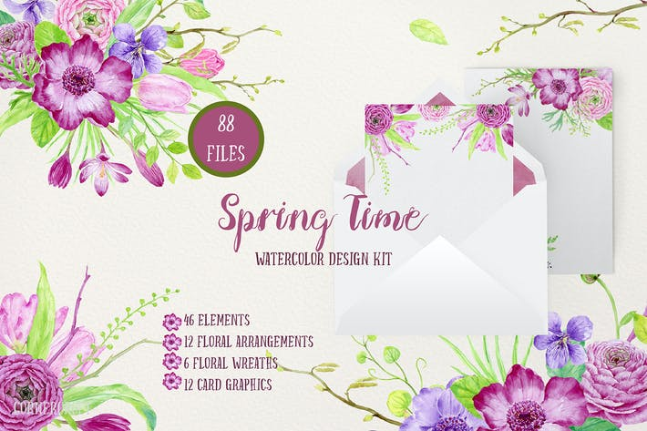 Thumbnail for Watercolor Design Kit Spring Time