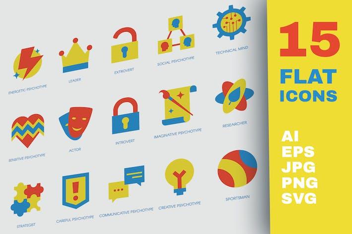 Persönlichkeits-Psyhotype Flache Icons