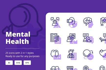 Mental Health (Line and Solid)
