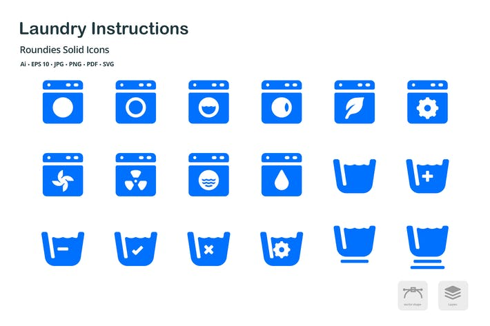 Thumbnail for Laundry Instructions Roundies Solid Glyph Icons