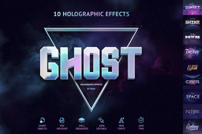 Thumbnail for Holographic Text Effects - 10 PSD