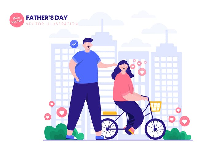 Thumbnail for Happy Fathers Day Flat Vector Illustration