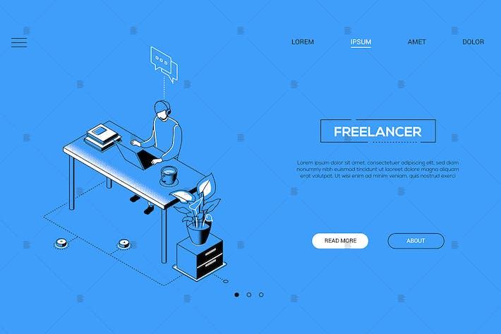 Thumbnail for Freelancer - line design isometric web banner