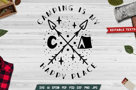 Camping Is My Happy Place Badge Template