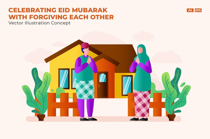 Thumbnail for Eid Mubarak Vector Illustration Concept