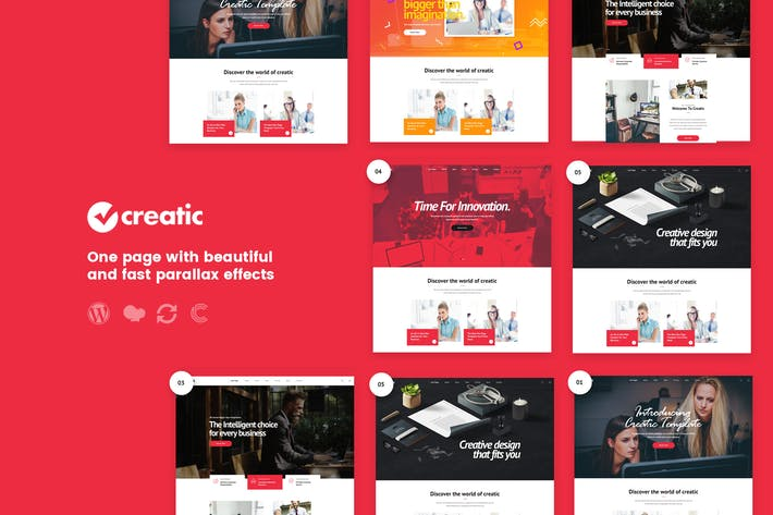 Thumbnail for Creatic - Une page Parallax WordPress
