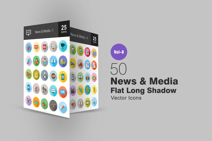 Thumbnail for 50 News & Media Flat Shadowed Icons