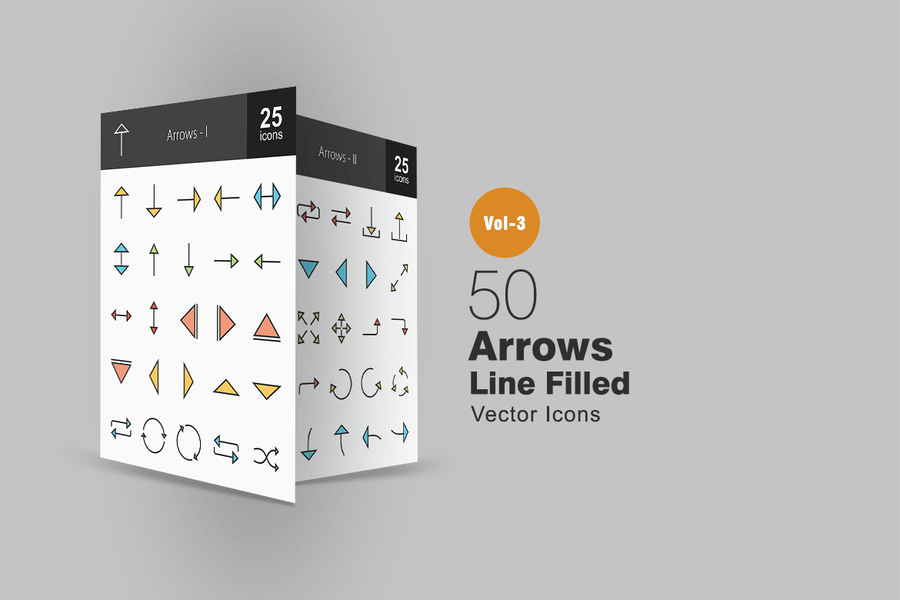 50 Arrows Line Filled Icons