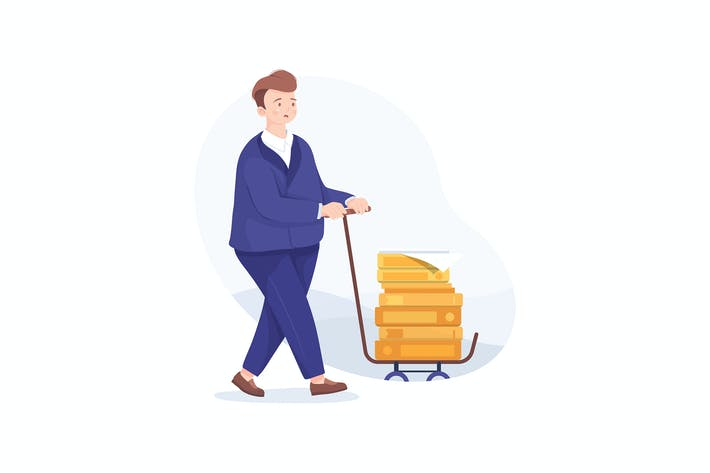 Thumbnail for Unhappy businessman carries pile of documents