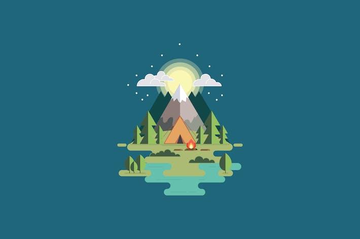 Illustration de camping moderne vecteur plat
