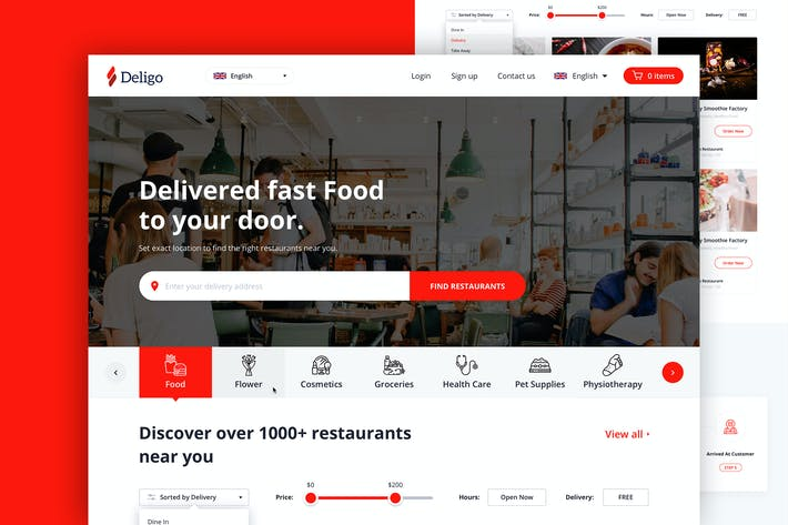 Thumbnail for Deligo - Food Delivery Website