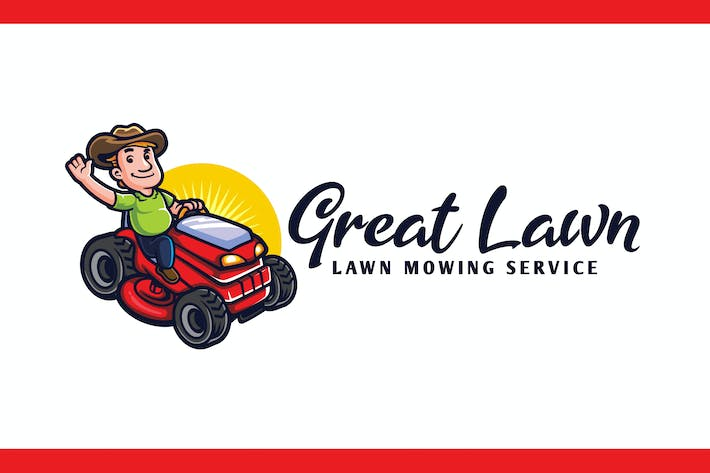 Thumbnail for Lawn Mowing and Landscaping Character Mascot Logo