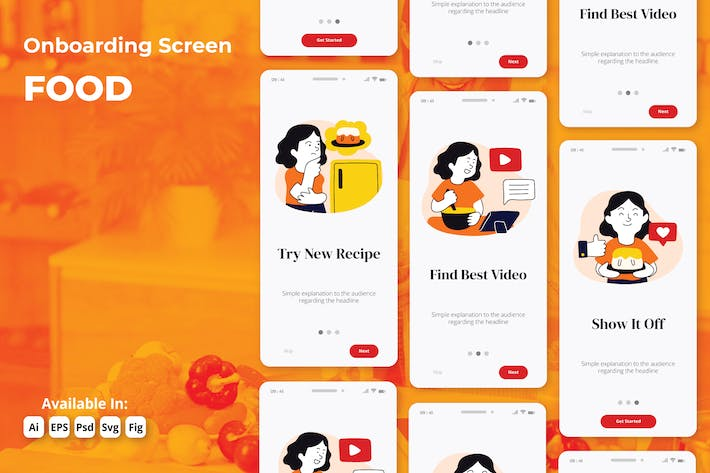 Thumbnail for Cooking and Food recipes app onboarding screens