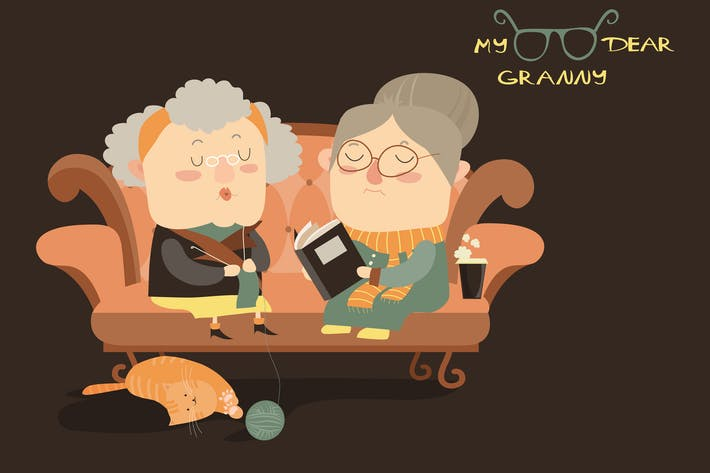 Thumbnail for Elderly women sitting on couch. Vector