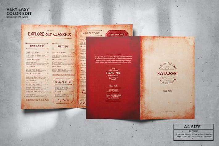Thumbnail for Menu Vintage Bifold Format A4