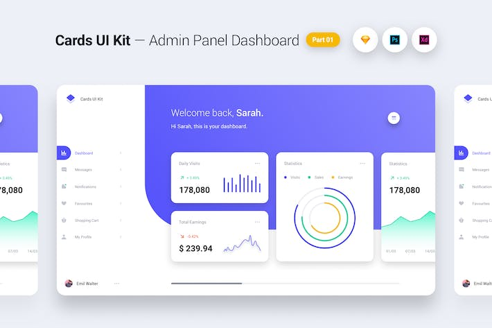 Thumbnail for Cards UI Kit - Admin Panel Dashboard Concept