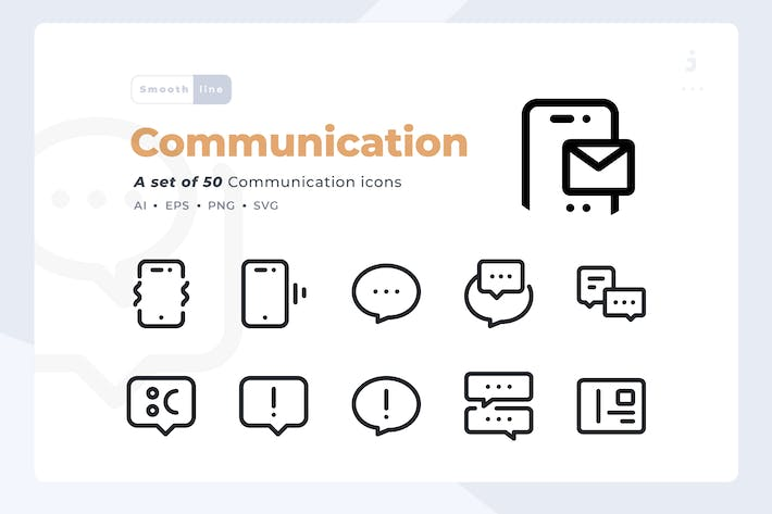 Thumbnail for Smoothline - 50 Communication icon set