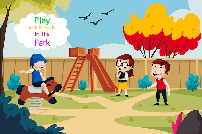 Thumbnail for Play friends the park - Illustration