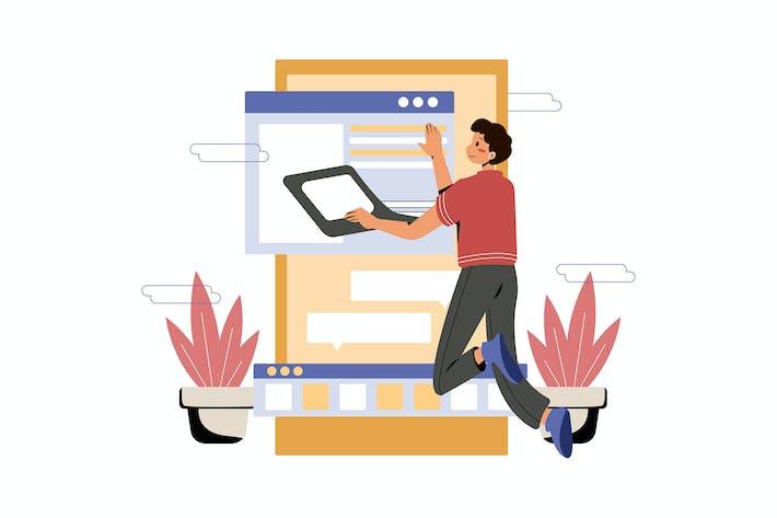 Thumbnail for Homme travaillant sur le développement d'applications mobiles