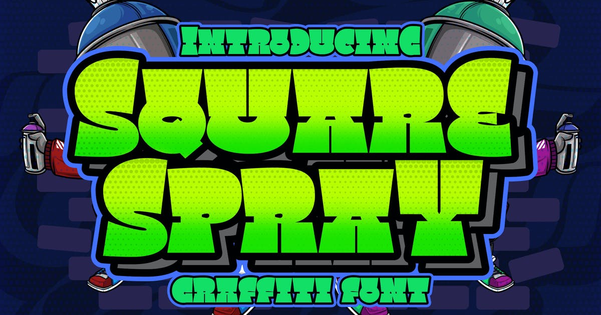 Download Square Spray Graffiti Font by Blankids