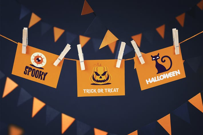 Thumbnail for Halloween cards mockup