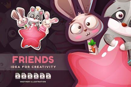 Raccoon, rabbit and bunny - Cute Sticker