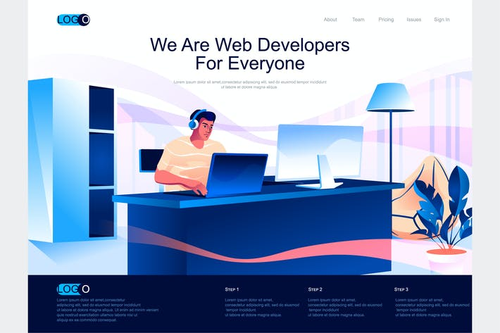Thumbnail for Web Developers Isometric Landing Page Template