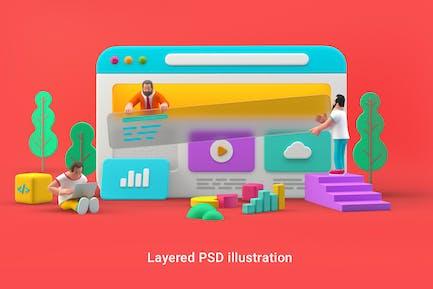 Webdesign UI UX website 3D illustration