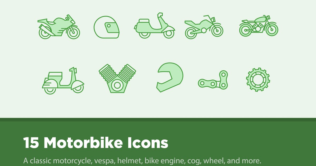 Download 15 Motorbike Icons by creativevip