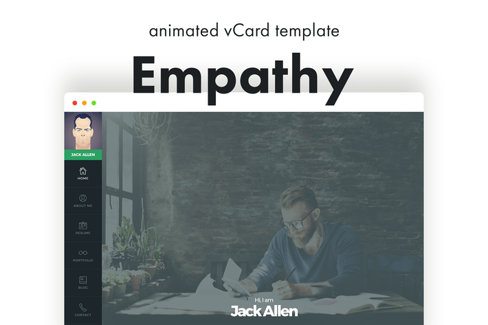 Thumbnail for Empathy - Animated vCard Template