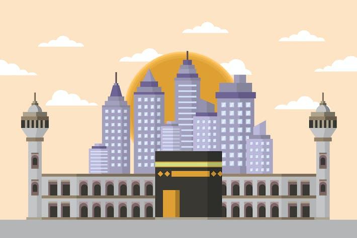 Thumbnail for Kaaba Mecca - Building & Landscape Illustration