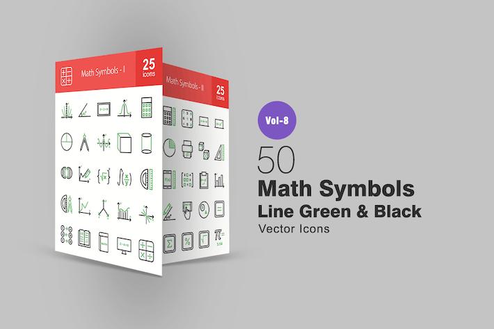 Thumbnail for 50 Math Symbols Green & Black Line Icons