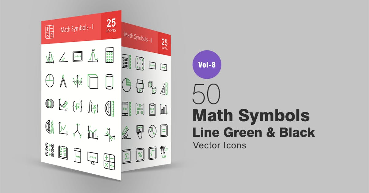 Download 50 Math Symbols Green & Black Line Icons by IconBunny