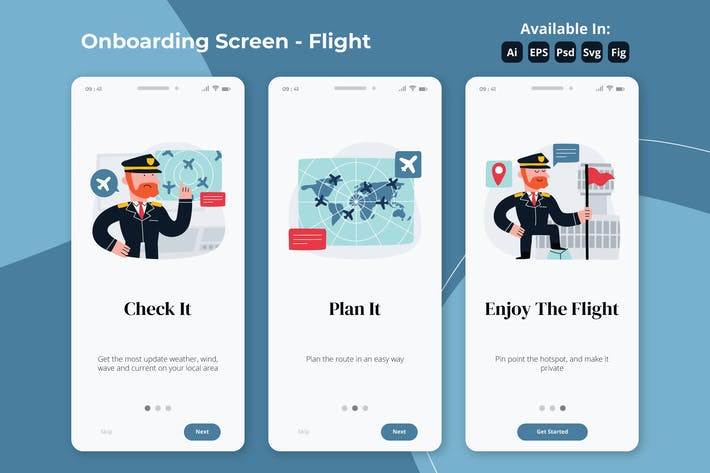Thumbnail for Aviation apps onboarding screens