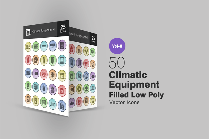 Thumbnail for 50 Climatic Equipment Filled Low Poly Icons