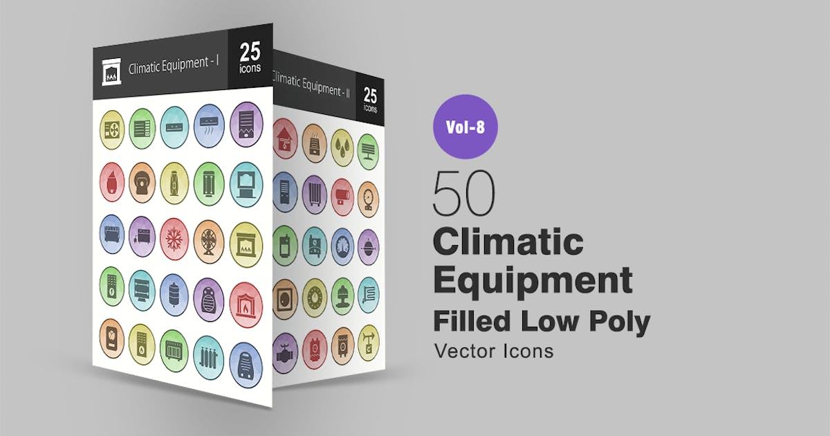 Download 50 Climatic Equipment Filled Low Poly Icons by IconBunny