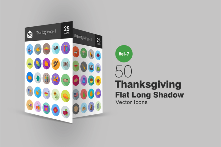Thumbnail for 50 Thanksgiving Flat Shadowed Icons