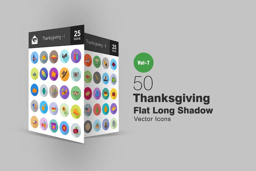 50 Thanksgiving Flat Shadowed Icons