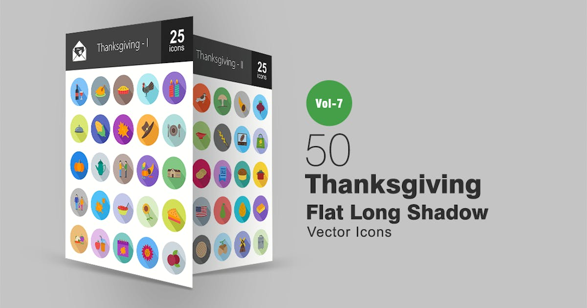 50 Thanksgiving Flat Shadowed Icons by IconBunny
