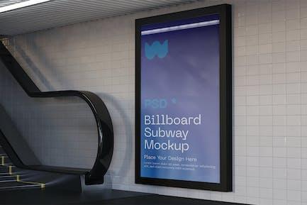 Advertisement in Subway Station Mockup