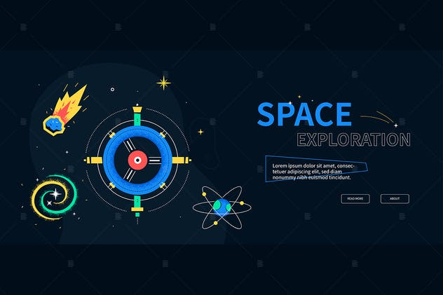 Space exploration - flat design style web banner
