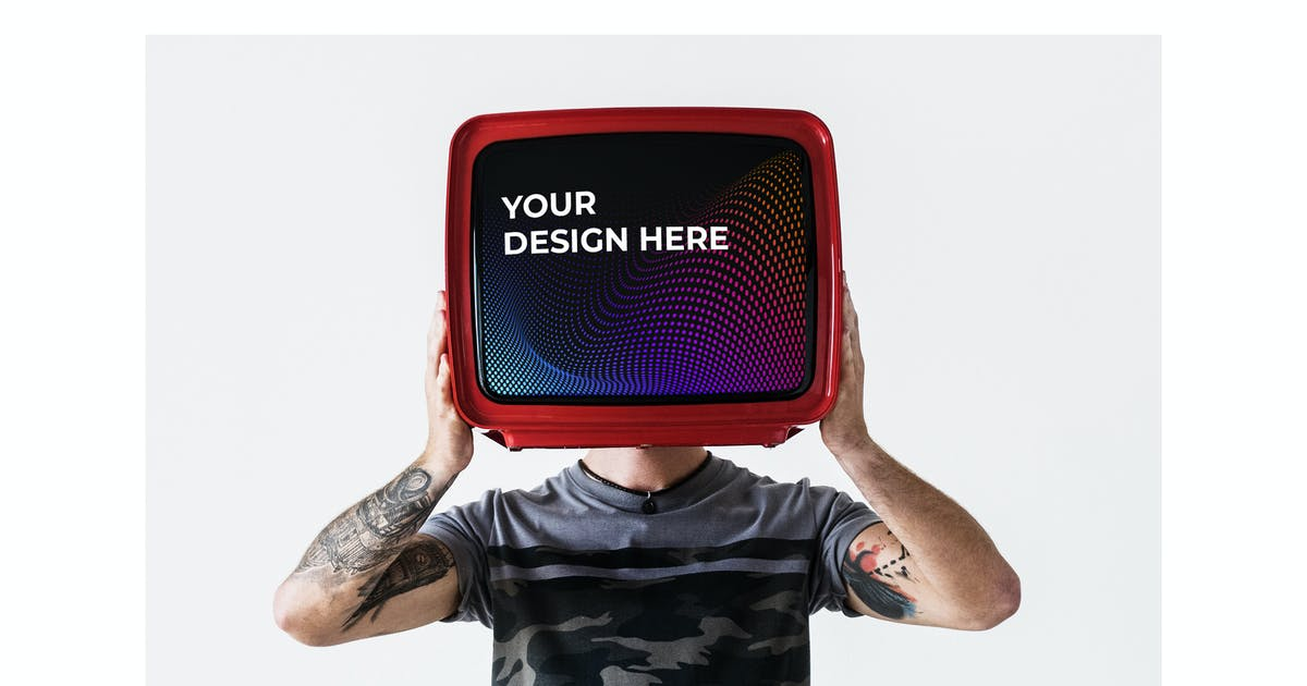 Download Person with tattoo holding television Mockup by Rawpixel