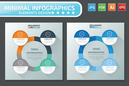 Minimal 4 step infographic Design